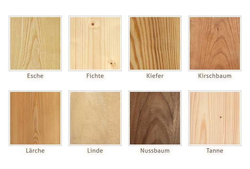 verschiedene-Holzarten