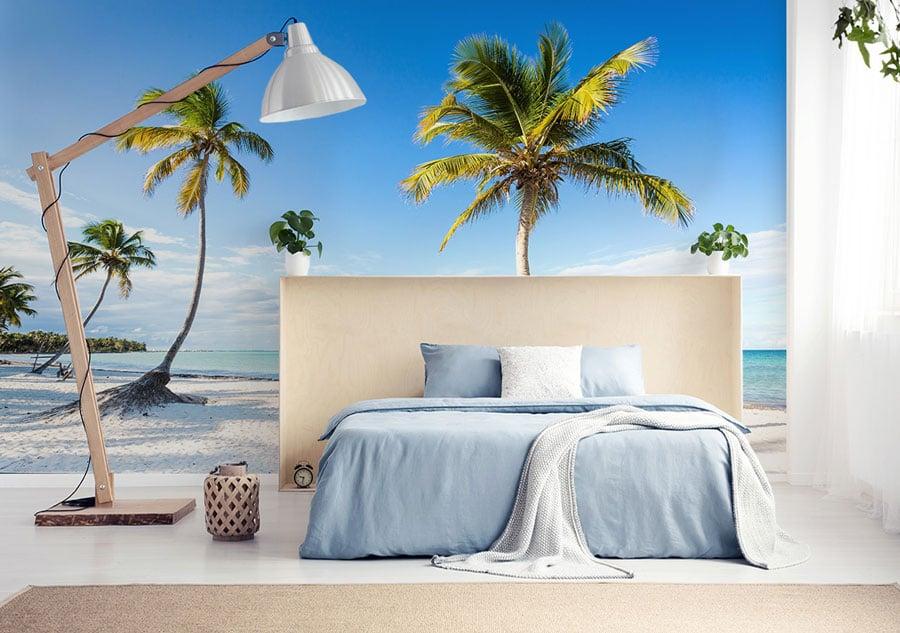 Fototapete-Paradiesstrand-mit-Palemen-im-Schlafzimmer